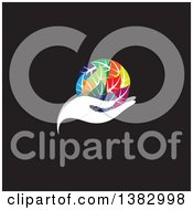 Clipart Of A White Hand Holding A Globe Of Colorful Leaves On Black Royalty Free Vector Illustration