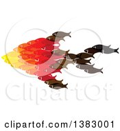 Clipart Of A Group Of Fish Forming A Big Fish Royalty Free Vector Illustration by ColorMagic