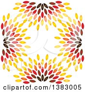 Clipart Of A Background Of Colorful Leaves Royalty Free Vector Illustration