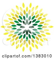 Clipart Of A Circle Of Green And Yellow Leaves Royalty Free Vector Illustration