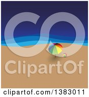 Clipart Of A Colorful Ball And Umbrella On A Beach Royalty Free Vector Illustration