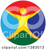 Clipart Of A Colorful Circle And Orange Man Jumping Or Cheering Royalty Free Vector Illustration