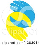 Clipart Of Blue And Yellow Hands Royalty Free Vector Illustration by ColorMagic