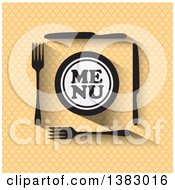 Clipart Of A Menu Design With Silverware And A Plate Over A Pattern Royalty Free Vector Illustration by ColorMagic