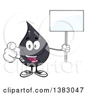Clipart Of A Cartoon Oil Drop Mascot Holding A Blank Sign And Pointing Outwards Royalty Free Vector Illustration