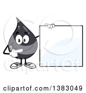 Clipart Of A Cartoon Oil Drop Mascot Pointing To A Blank Sign Royalty Free Vector Illustration by Hit Toon