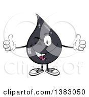 Clipart Of A Cartoon Oil Drop Mascot Winking And Giving Two Thumbs Up Royalty Free Vector Illustration