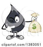 Clipart Of A Cartoon Oil Drop Mascot Winking Holding And Pointing To A Money Bag Royalty Free Vector Illustration