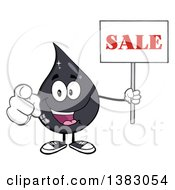 Clipart Of A Cartoon Oil Drop Mascot Holding A Sale Sign And Pointing Outwards Royalty Free Vector Illustration by Hit Toon