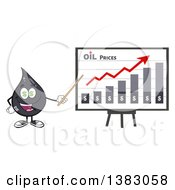 Clipart Of A Cartoon Oil Drop Mascot With Dollar Eyes Holding A Pointer Stick To A Presentation Board With A Growth Chart Royalty Free Vector Illustration