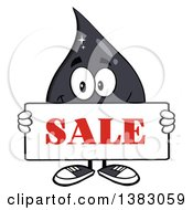 Clipart Of A Cartoon Oil Drop Mascot Holding A Sale Sign Royalty Free Vector Illustration by Hit Toon