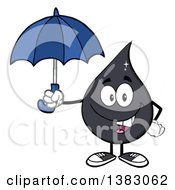 Clipart Of A Cartoon Oil Drop Mascot Holding An Umbrella Royalty Free Vector Illustration