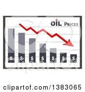 Clipart Of A Bar Graph Showing A Decline In Oil Prices Royalty Free Vector Illustration by Hit Toon
