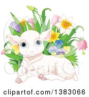 Clipart Of A Cute Pink Easter Sheep Lamb Resting By With Spring Flowers Royalty Free Vector Illustration