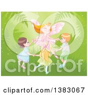 Clipart Of A Happy Strawberry Blond Caucasian Fairy Princess Dancing With Children In The Forest Royalty Free Vector Illustration