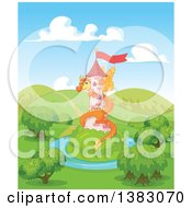Clipart Of A Cute Orange Fairy Tale Dragon Guarding A Tower In A Landscape Royalty Free Vector Illustration