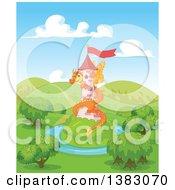 Cute Orange Fairy Tale Dragon Guarding A Tower In A Landscape