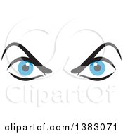 Clipart Of A Pair Of Angry Blue Eyes Royalty Free Vector Illustration by Johnny Sajem