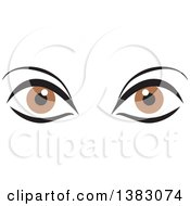 Clipart Of A Pair Of Brown Eyes Royalty Free Vector Illustration by Johnny Sajem