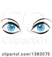 Clipart Of A Pair Of Blue Eyes Royalty Free Vector Illustration by Johnny Sajem