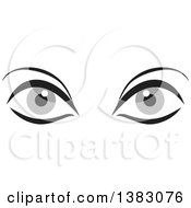 Clipart Of A Pair Of Gray Eyes Royalty Free Vector Illustration by Johnny Sajem