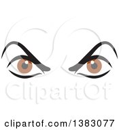 Clipart Of A Pair Of Angry Brown Eyes Royalty Free Vector Illustration by Johnny Sajem