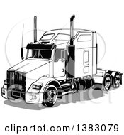 Clipart Of A Black And White Big Rig Truck Without A Trailer And A Gray Shadow Royalty Free Vector Illustration