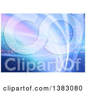 Clipart Of A Background Of Abstract Blue And Purple Waves Royalty Free Vector Illustration