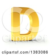 Clipart Of A 3d Golden Capital Letter D On A Shaded White Background With Clipping Path Royalty Free Illustration by stockillustrations