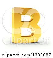 Clipart Of A 3d Golden Capital Letter B On A Shaded White Background With Clipping Path Royalty Free Illustration