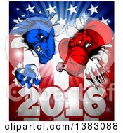 Clipart Of A Political Aggressive Democratic Donkey Or Horse And Republican Elephant Clawing Through An American Flag Over 2016 Royalty Free Vector Illustration