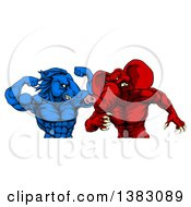 Clipart Of A Political Aggressive Democratic Donkey Or Horse And Republican Elephant Fighting Royalty Free Vector Illustration