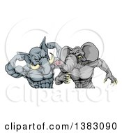 Clipart Of Aggressive Elephant Men Republican Candidates Fighting Royalty Free Vector Illustration by AtStockIllustration