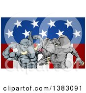 Clipart Of Aggressive Elephant Men Republican Candidates Fighting Over An American Flag Royalty Free Vector Illustration