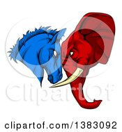 Political Aggressive Democratic Donkey Or Horse And Republican Elephant Butting Heads