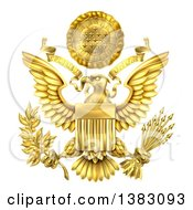 Clipart Of A 3d Gold Great Seal Of The United States With A Bald Eagle Holding An Olive Branch And Arrows An American Flag Body And E Pluribus Unum Scroll And Stars Over His Head Royalty Free Vector Illustration by AtStockIllustration