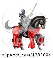 Clipart Of A 3d Full Armored Medieval Knight On A Black Horse Holding Up A Sword And Shield Royalty Free Vector Illustration