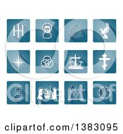 Clipart Of White Christian Icons On Blue Square Tiles Royalty Free Vector Illustration by AtStockIllustration