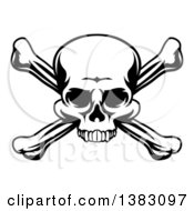 Clipart Of A Black And White Skull And Crossbones Royalty Free Vector Illustration