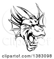 Clipart Of A Black And White Roaring Horned Dragon Mascot Head Royalty Free Vector Illustration
