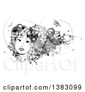 Clipart Of A Black And White Womans Face With Butterflies Flowers And Vines In Her Hair Royalty Free Vector Illustration