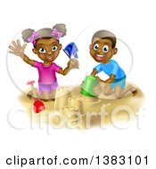 Clipart Of A Happy Black Boy And Girl Playing And Building A Sand Castle On A Beach Royalty Free Vector Illustration by AtStockIllustration