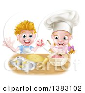 Clipart Of A Cartoon Happy White Girl And Boy Making Pink Frosting And Star Shaped Cookies Royalty Free Vector Illustration by AtStockIllustration