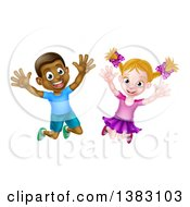 Clipart Of A Happy And Excited Black Boy And White Girl Jumping Royalty Free Vector Illustration by AtStockIllustration