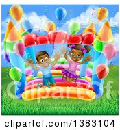 Clipart Of A Cartoon Happy Black Boy And Girl Jumping On A Bouncy House Castle At A Party On A Sunny Day Royalty Free Vector Illustration