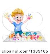 Poster, Art Print Of Cartoon Happy White Boy Kneeling And Hand Painting Artwork