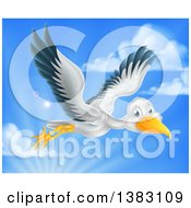 Clipart Of A Stork Bird In Flight Against Sky Royalty Free Vector Illustration