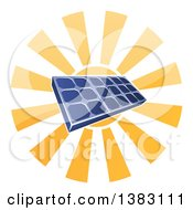 Clipart Of A Sun Shining Behind A Blue Solar Panel Photovoltaics Cell Royalty Free Vector Illustration