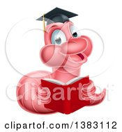 Clipart Of A Cartoon Happy Pink Graduate Book Worm Reading Royalty Free Vector Illustration by AtStockIllustration