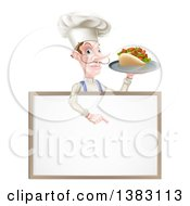 Clipart Of A Cartoon Caucasian Male Chef With A Curling Mustache Holding A Kebab Sandwich On A Tray And Pointing Down At A Blank Menu Sign Royalty Free Vector Illustration